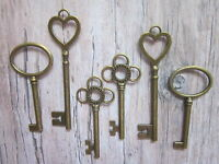 6 x large antique bronze skeleton keys wedding vintage fancy pendants santa new