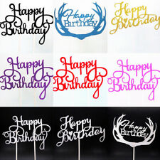 "10Pcs ""Happy Birthday"" Cake Inserted Cards Topper Kids Baby Shower Party Decor"
