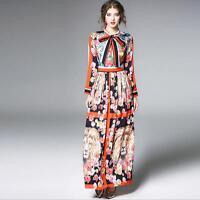 New Women's Floral Printing Full Ladies Slim Fit Pleated Long Sleeve Dress Skirt