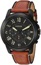 Fossil FS5241 Grant Black Dial Men's Light Brown Leather 44mm Chronogrph Watch