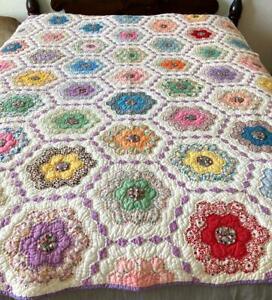 Vintage Grandmother's Garden Quilt 49 Blocks Cotton Batting Lt Weight Lavender