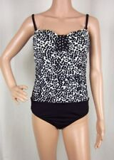 NWT 24th & Ocean One Piece Bathing Suit Black/White Bandeau Ruched Swimsuit Sz S