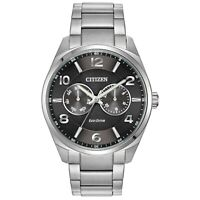 Citizen Eco-Drive Men's Black Dial Silver-Tone Bracelet 43mm Watch AO9020-84E