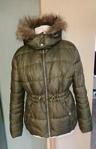 Ladies Womens  Puffa Winter Jacket  Coat  Faux Fur Hood  khaki Size 14  Ex Cond