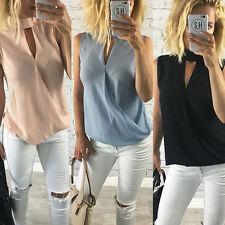 Chiffon Mujer Camiseta Sin Mangas Camisa Blusa Casual Verano Holgado Suéter