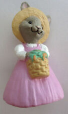 Hallmark Merry Miniatures 1990 Easter Bunny With Basket Of Carrots Straw Hat