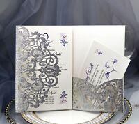 100xLaser Cut Glitter Wedding Invitation Card Hollow Pearl Conference Invitation