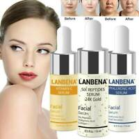 LANBENA Six Peptides Serum 24K Gold Anti-Aging VitaminE Hyaluronic Acid Serum S8