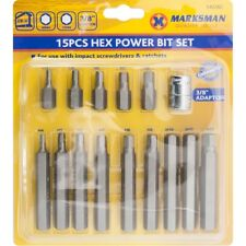 "15pc Metric Long Short 3/8"" Drive Hex Wrench Key Socket Bit Set By Marksman"