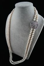 36/37 inches 8-9mm Double-Strand White Pearl Necklace with Spider Web Ornament