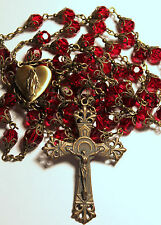 "DK Red Siam Crystal Mary Locket Center Antique Bronze Handmade Rosary Rosario31"""