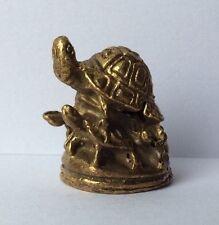 Statuette figurine miniature laiton amulette animal TORTUE - PETITS Cambodge a30