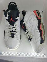 Nike Boys Air Jordan 6 VI Retro Sneakers White Basketball Shoes 768881-123 7y