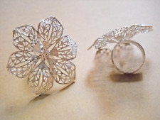 Silver Flower Ring Blank Adjustable Cocktail Setting Brass Glue On Pad Floral