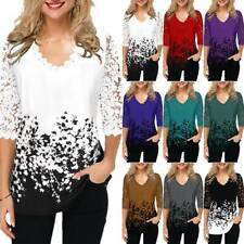 Womens Lace 3/4 Sleeve V-Neck T-Shirt Floral Print Blouse Tops Shirts Plus Size