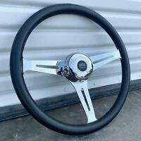 """18"""" Chrome Steering Wheel with Black Leather Wrap and Horn Semi Trucks"""