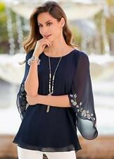 Navy Cape Sleeve Evening Party Blouse with Silver Embroidery Detail Size 10 NEW