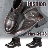 Retro Men's Business Leather Chelsea Boots Zip Casual High Top Flats Ankle Shoes