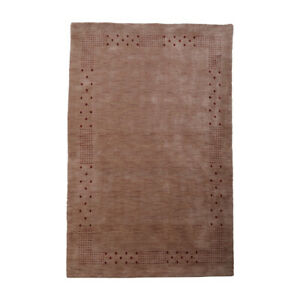 Hand Knotted Wool 5'x8' Area Rug Contemporary Light Brown BBH BBL00530