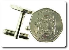 """BOUTONS DE MANCHETTES  Pièce de Monnaie Authentique """" Jamaïque """".TMPL_SKU004275"""