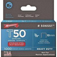 Arrow Fastener 506SS1 Genuine T50 Stainless Steel 3/8-Inch Staples