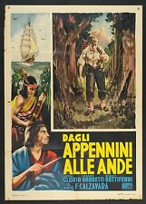 MANIFESTO, DAGLI APPENNINI ALLE ANDE dal libro CUORE di DE AMICIS, 2a ed. 1951