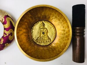 """4 1/2"""" (Sacral chakra)  Hammer Finished singing Bowl 460g - Made In Nepal ॐ"""