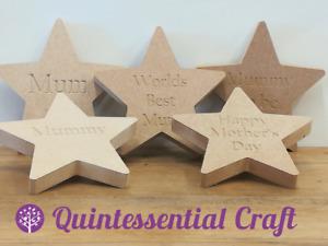 18mm MDF Wooden STAR Mothers Day Best Mum Mummy Freestanding Engraved Craft Blan