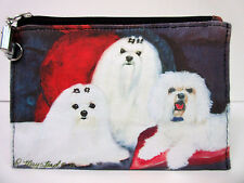 New Maltese Dog Zippered Handy Pouch Make-up/Coin Purse 3 White Dogs by Ruth