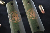 US Army Seal Carved Oak 1911 Grips Fits Colt Rock Island Kimber Springfield ETC