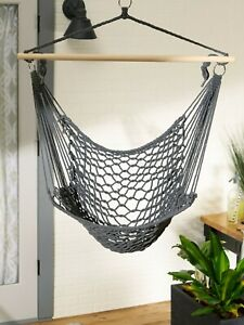 Stylish Gray Schima Wood Cotton Hammock Comfy Cradle Chair Outdoor Decor