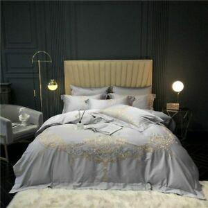 Embroidery Set 4Pcs Soft Egyptian Cotton Bedding Sets Bed Sheet Pillowcase