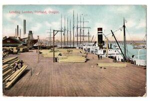 101120 VINTAGE PORTLAND OR OREGON LOADING LUMBER ON SHIPS POSTCARD 1909