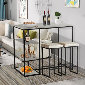 Woodyhome 3 Piece Counter Height Dining Bar Table Set w/2 Stools&Storage Shelves