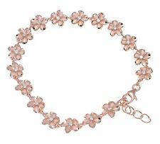 rosa placcato oro argento 925 HAWAIANO STRAVAGANTI Plumeria Bracciale fiore