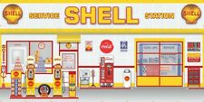 SHELL GAS STATION PUMPS SCENE WHOLE WALL MURAL SIGN BANNER GARAGE ART 8' X 16'