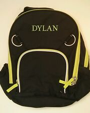 Pottery Barn Kids Small Fairfax Black and Green Backpack with Name DYLAN New!