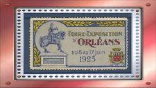 """FRANCE VIGNETTE Foire-Exposition d'Orléans """"Jeanne d'Arc"""" 1923, Label,Cinderella"""