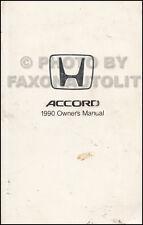 1990 Honda Accord 4 door Sedan Owners Manual Owner User Guide Book DX EX LX