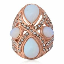 Opalite w/White Austrian Crystal Accent Ring - ION Plated RG Stainless, Size 9