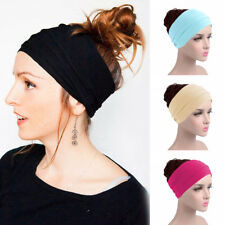 Women Elastic Yoga Wide Hairband Colorful Stretch Turban Running Headbands Wraps