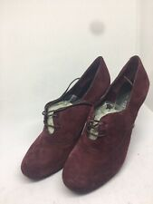 Nine West H- Naso Women's Wine Suede High Heel Lace Up Shoes Size 5 (BX70).