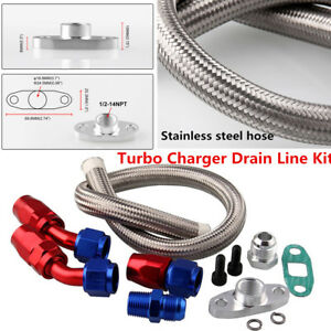 Oil Feed Line Return Drain Line Kit For Turbo Charger T3 T4 T70 T66 TO4E Durable