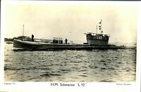 HM Submarine L 52. RPPC postcard real photograph Royal Navy military antique