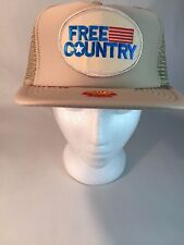 Tan Beige USA Free Country Shell Oil Gas Trucker Farmer Mesh Snapback Hat Cap