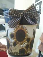 primitive sunflower crows Trashcan trash can kitchen laundry shabby  farmstyle