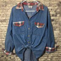 Vintage 90s Grunge Plaid Trim Denim Chambray Shirt Large Mississippi River Blues