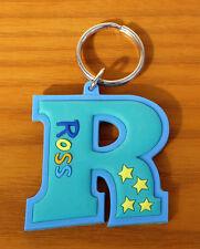 Rubber Name Key Fob Key Ring Blue ROSS - R Shape