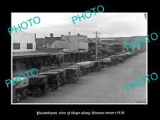 OLD LARGE HISTORIC PHOTO OF QUEANBEYAN ACT VIEW OF MONARO St & STORES c1930