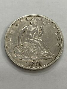1861 Seated Liberty Half Dollar 50c. Very Sharp UNC Details! Civil War Date!